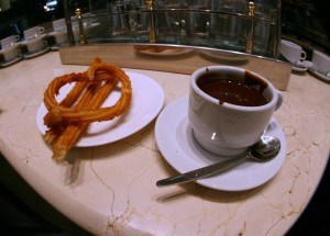 Churros and hot chocolate -- a must in Madrid!